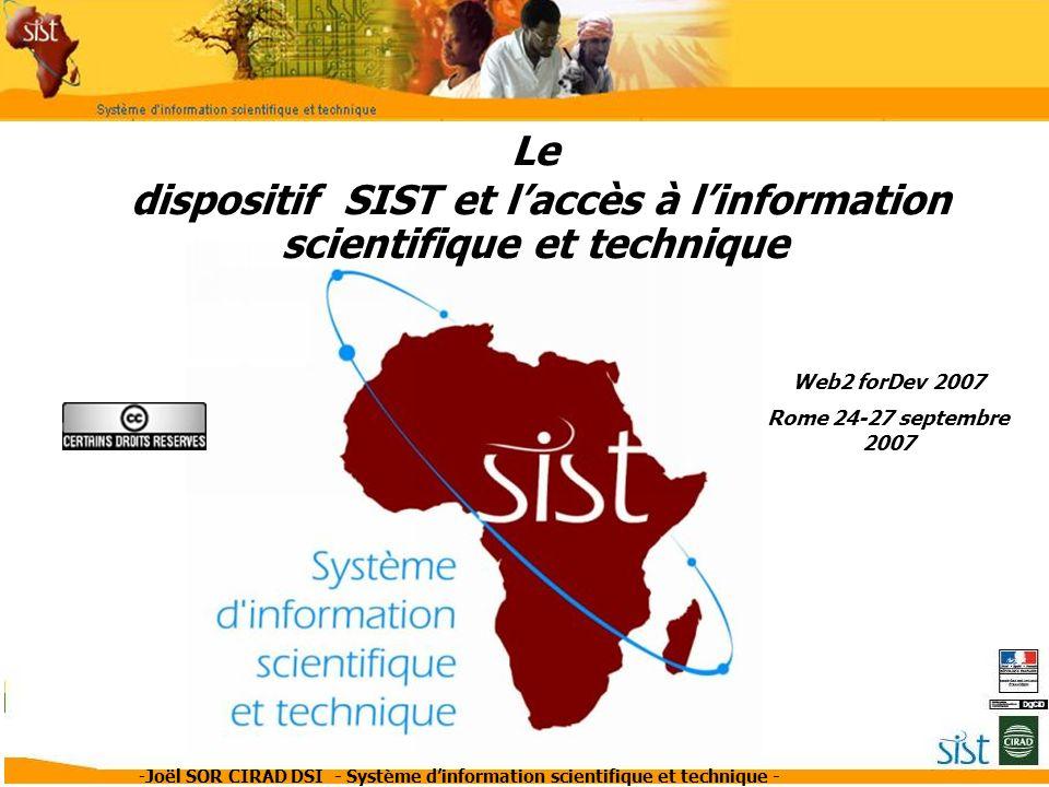 dispositif SIST et l'accès à l'information scientifique et technique