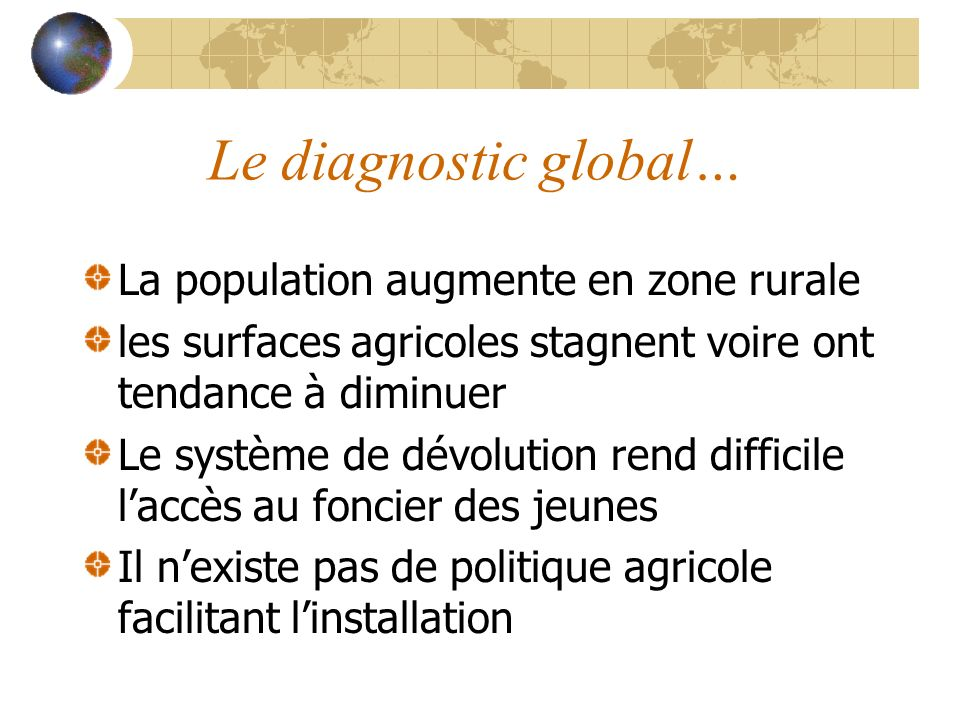 Le diagnostic global… La population augmente en zone rurale