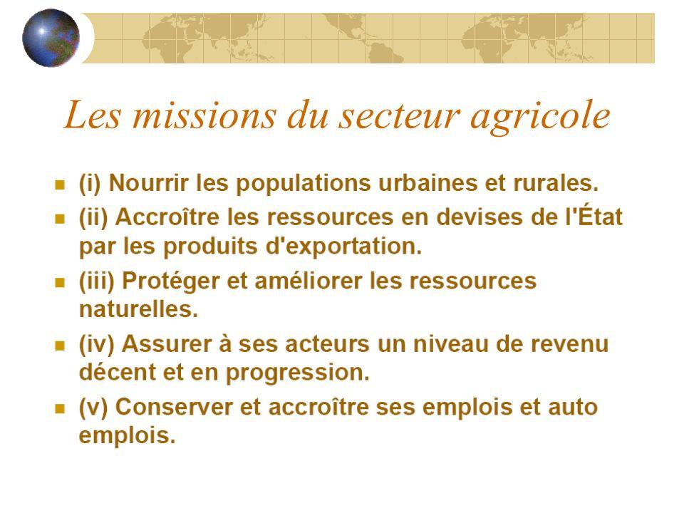 Les missions du secteur agricole