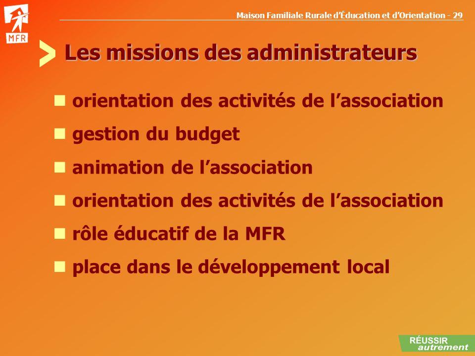 Les missions des administrateurs
