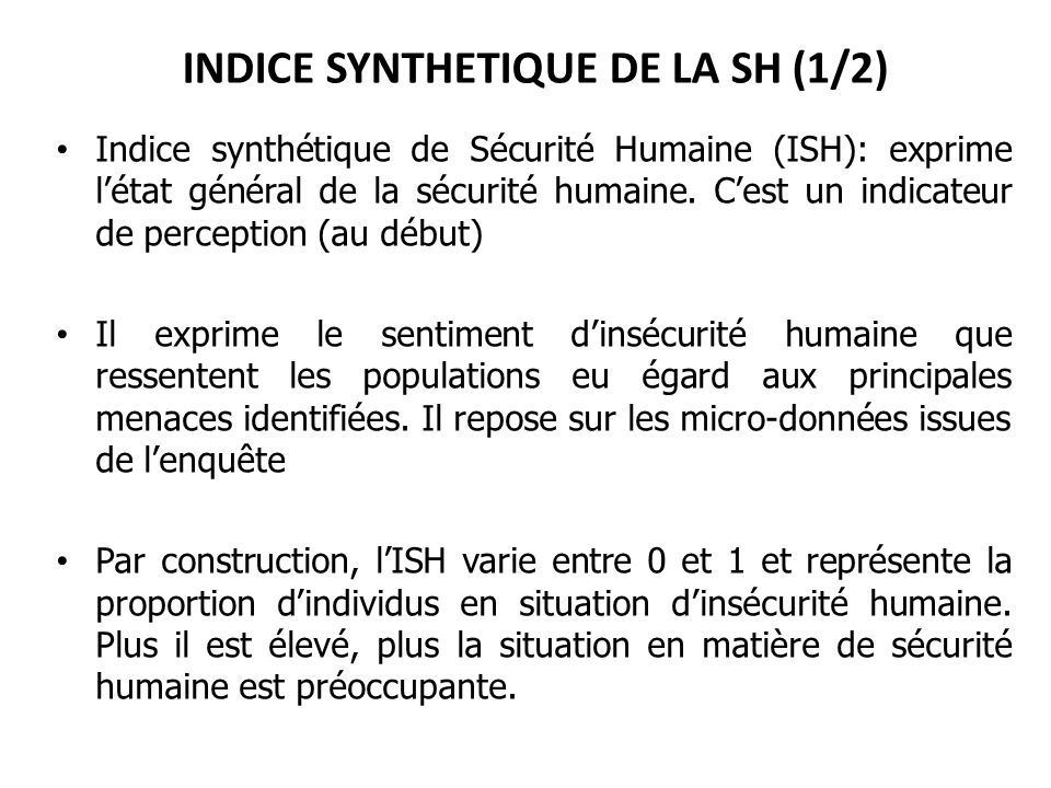 INDICE SYNTHETIQUE DE LA SH (1/2)