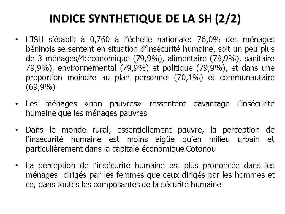 INDICE SYNTHETIQUE DE LA SH (2/2)