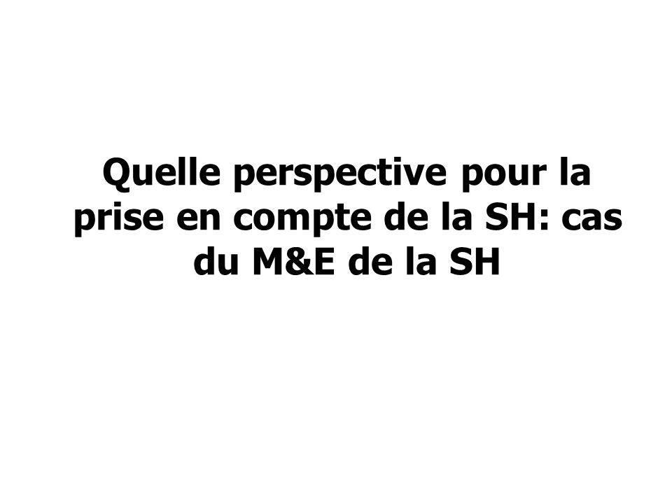 Quelle perspective pour la prise en compte de la SH: cas du M&E de la SH