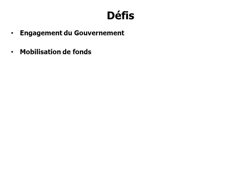 Défis Engagement du Gouvernement Mobilisation de fonds