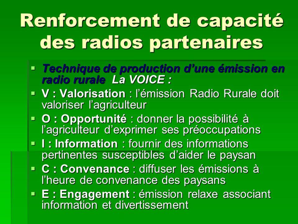 Renforcement de capacité des radios partenaires
