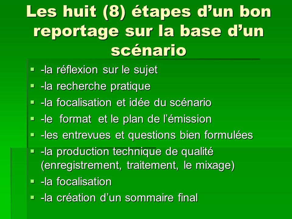 Les huit (8) étapes d'un bon reportage sur la base d'un scénario