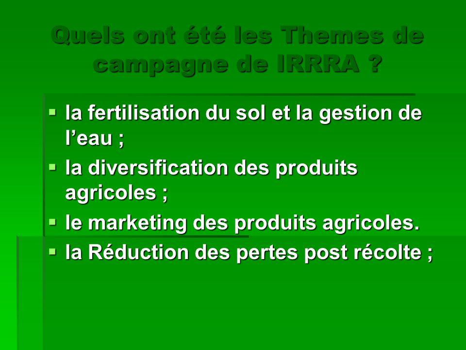 Quels ont été les Themes de campagne de IRRRA