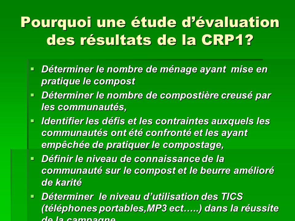 Pourquoi une étude d'évaluation des résultats de la CRP1