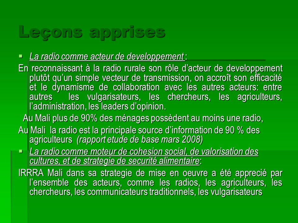 Leçons apprises La radio comme acteur de developpement :