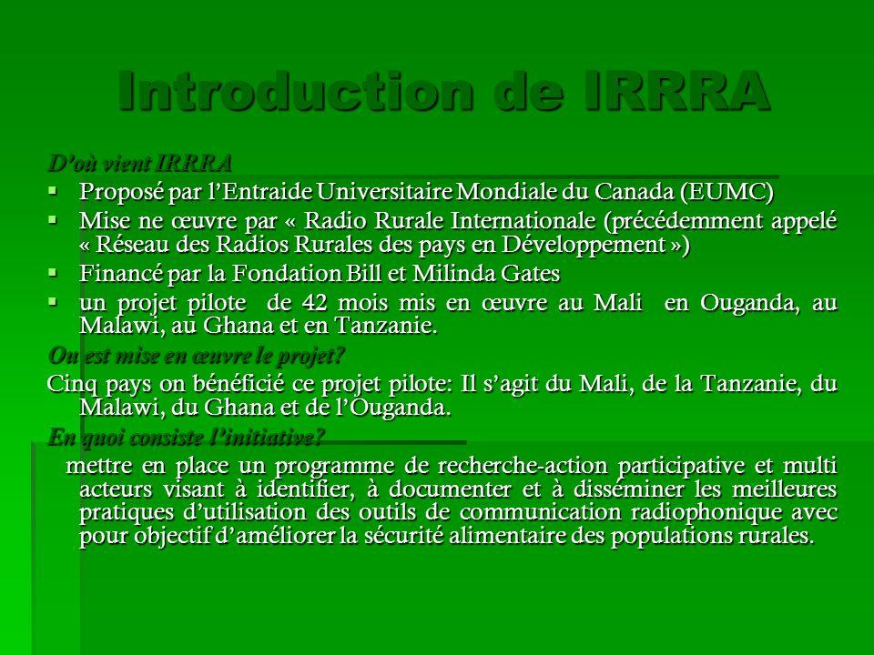 Introduction de IRRRA D'où vient IRRRA