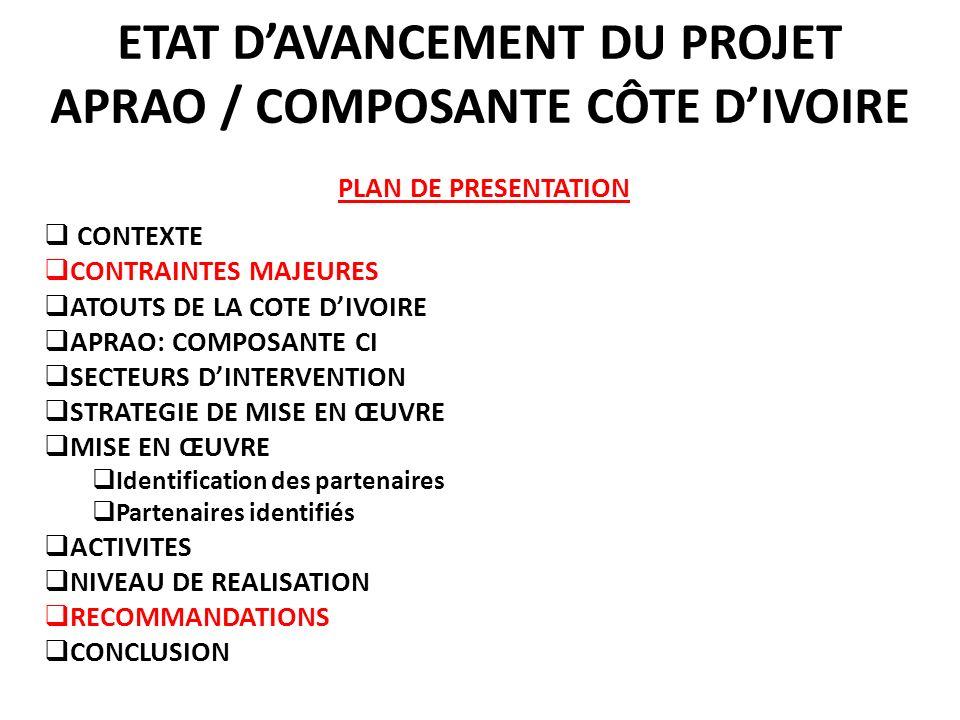 ETAT D'AVANCEMENT DU PROJET APRAO / COMPOSANTE CÔTE D'IVOIRE