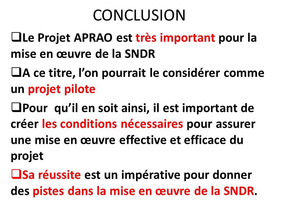 CONCLUSION Le Projet APRAO est très important pour la mise en œuvre de la SNDR. A ce titre, l'on pourrait le considérer comme un projet pilote.