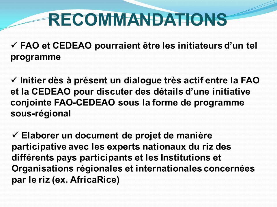 RECOMMANDATIONS  FAO et CEDEAO pourraient être les initiateurs d'un tel programme.
