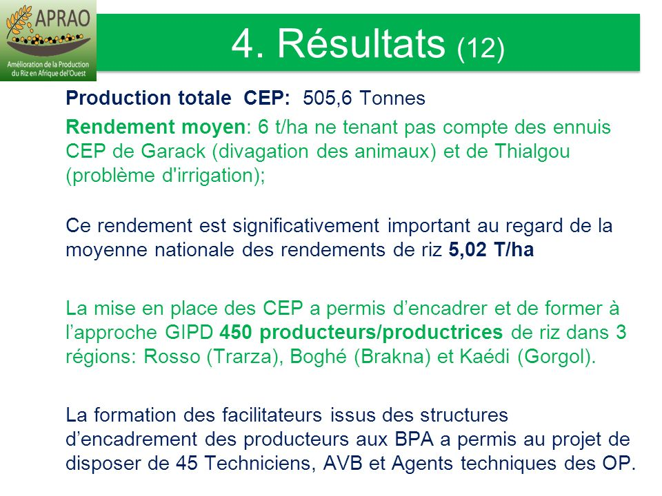 4. Résultats (12) Production totale CEP: 505,6 Tonnes.