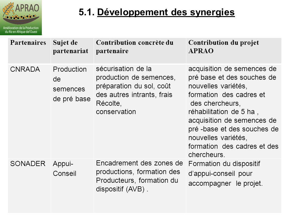 5.1. Développement des synergies