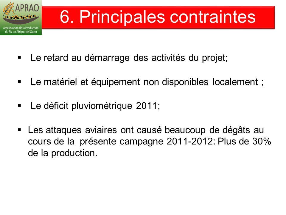 6. Principales contraintes