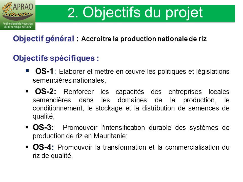 2. Objectifs du projet Objectif général : Accroître la production nationale de riz. Objectifs spécifiques :