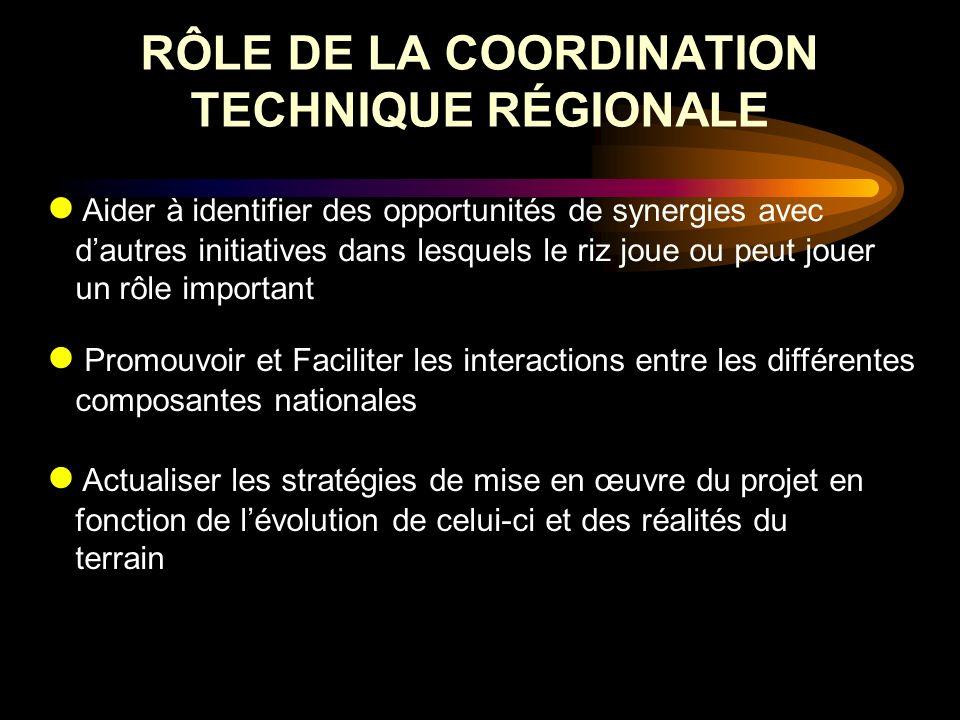 RÔLE DE LA COORDINATION TECHNIQUE RÉGIONALE