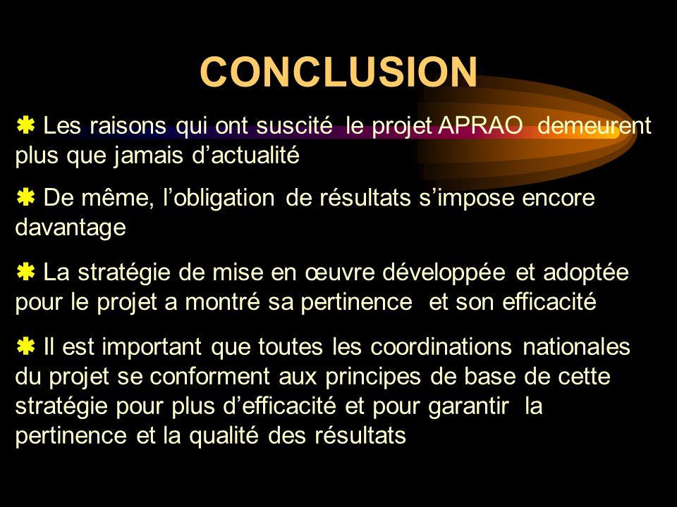 CONCLUSION  Les raisons qui ont suscité le projet APRAO demeurent plus que jamais d'actualité.