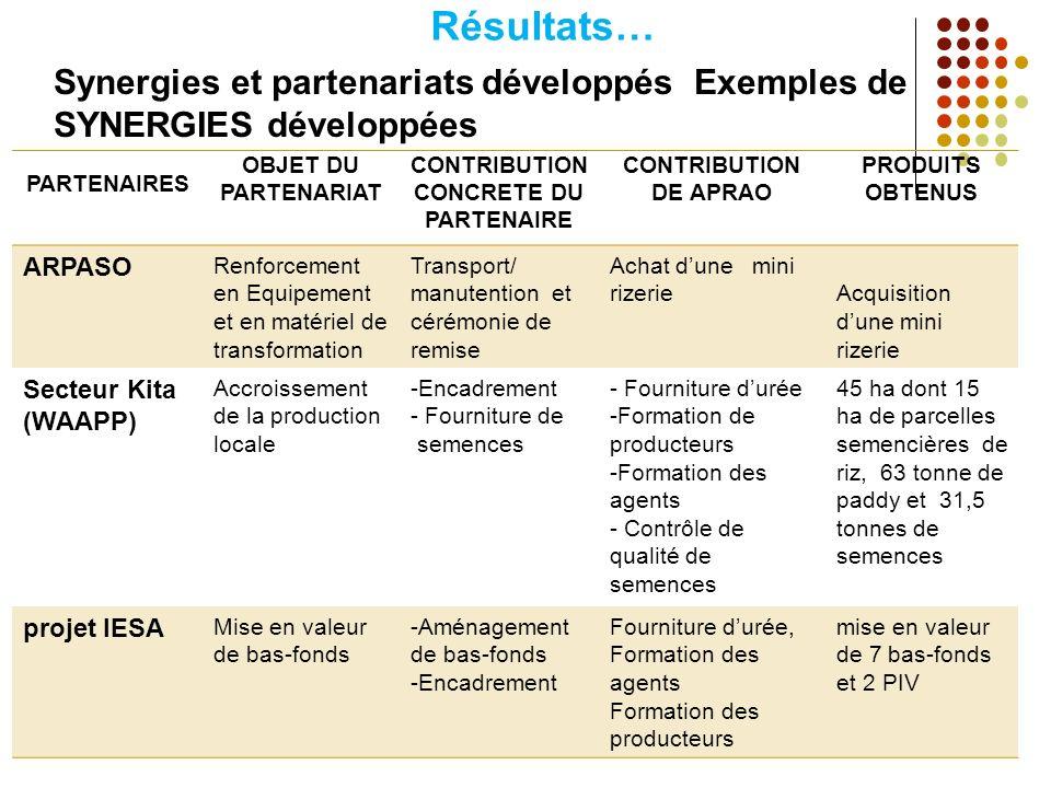 CONTRIBUTION CONCRETE DU PARTENAIRE
