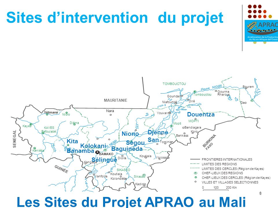 Sites d'intervention du projet