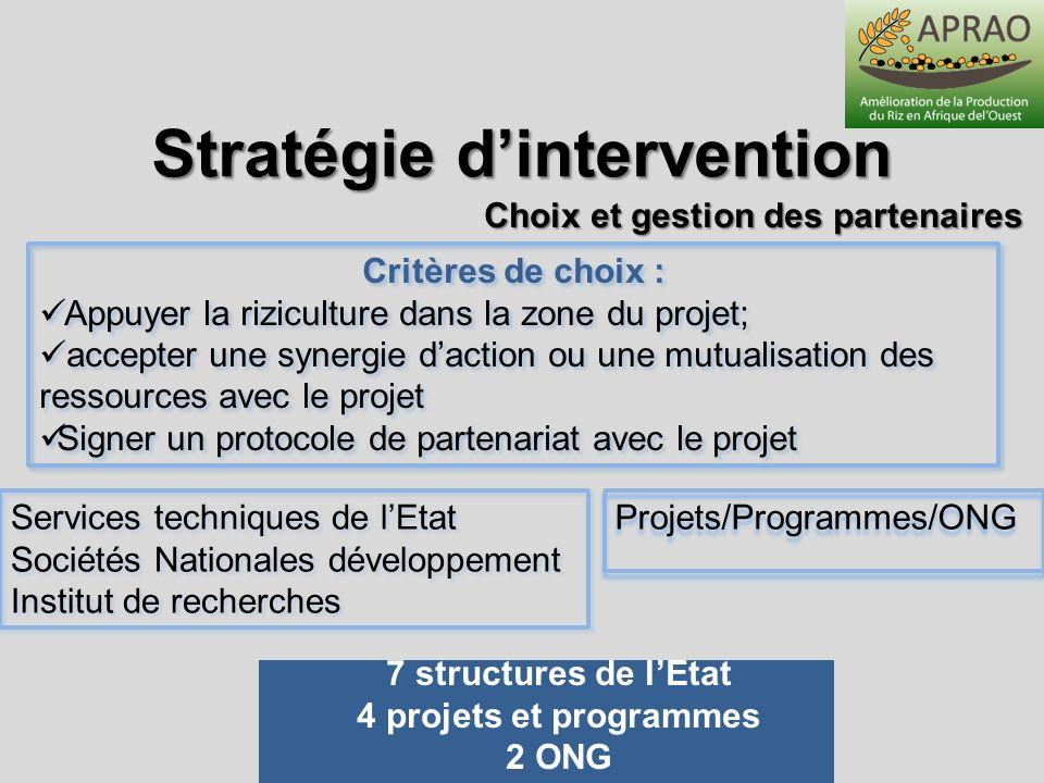 Stratégie d'intervention Choix et gestion des partenaires