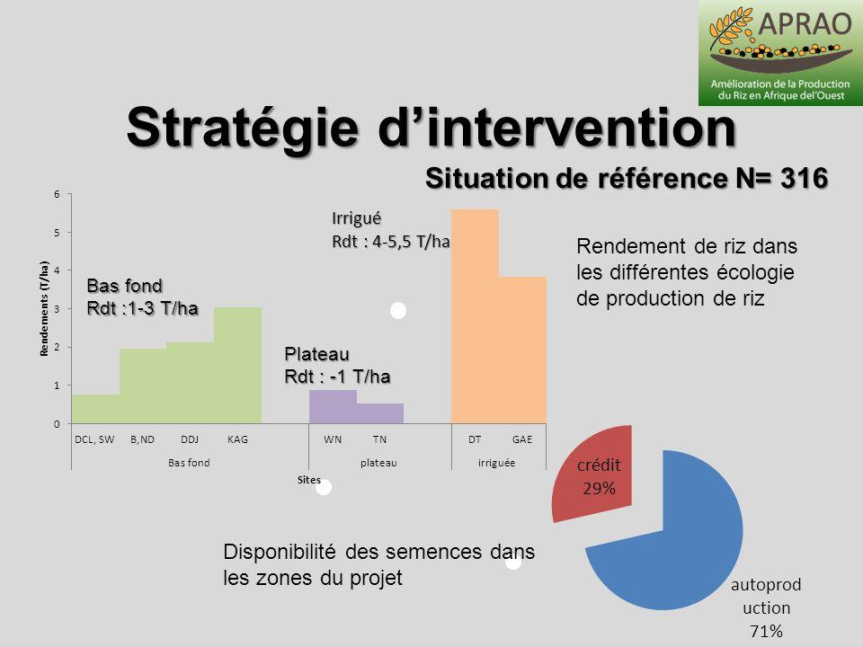 Stratégie d'intervention Situation de référence N= 316