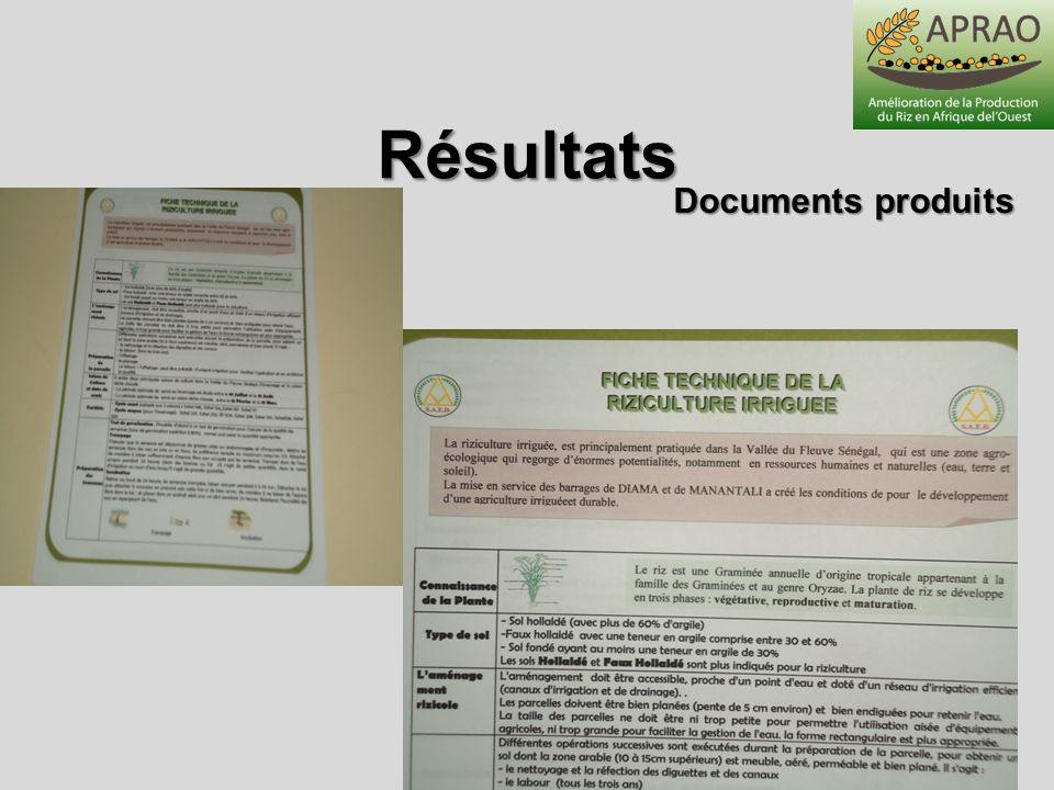 Résultats Documents produits Abidjan 31 mai-1er juin 2012