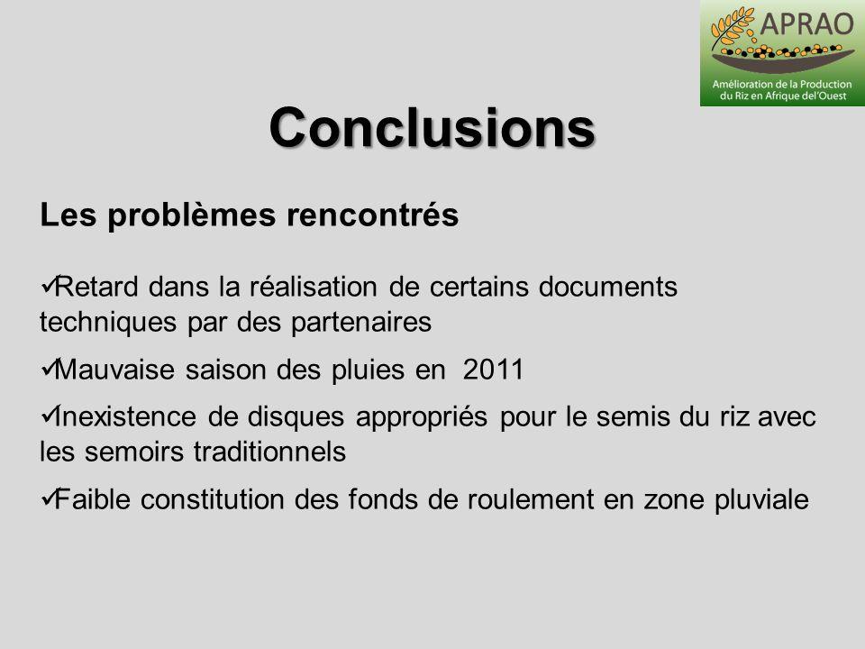 Conclusions Les problèmes rencontrés