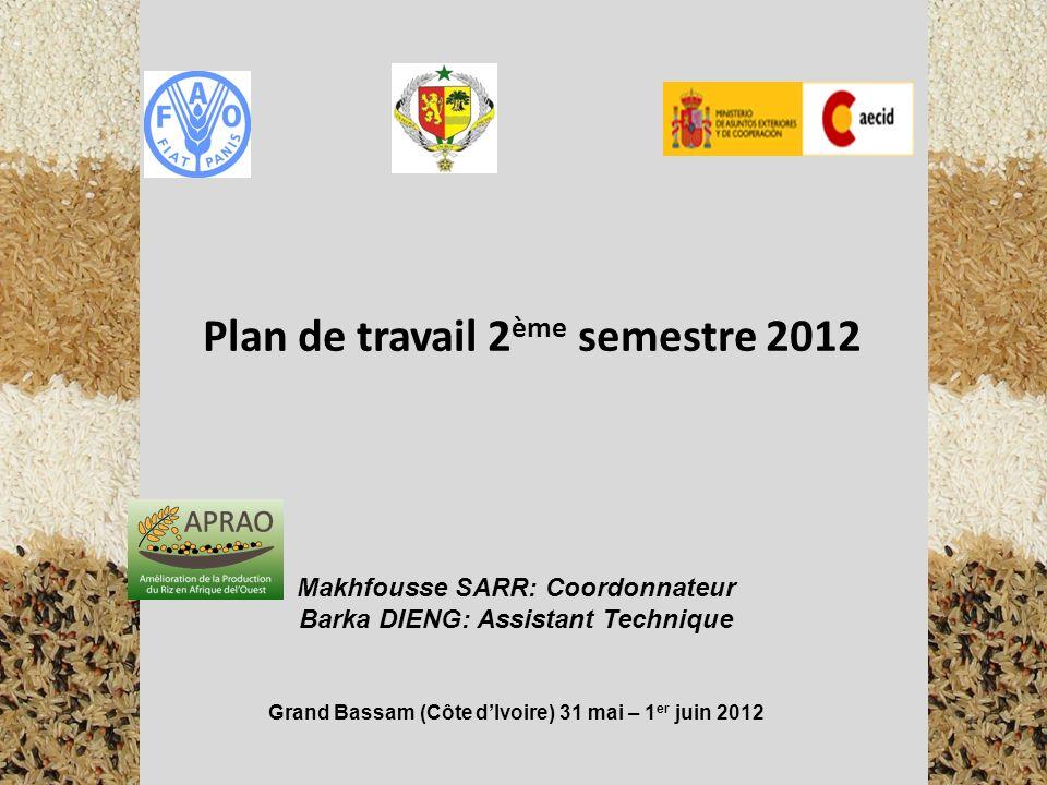 Plan de travail 2ème semestre 2012