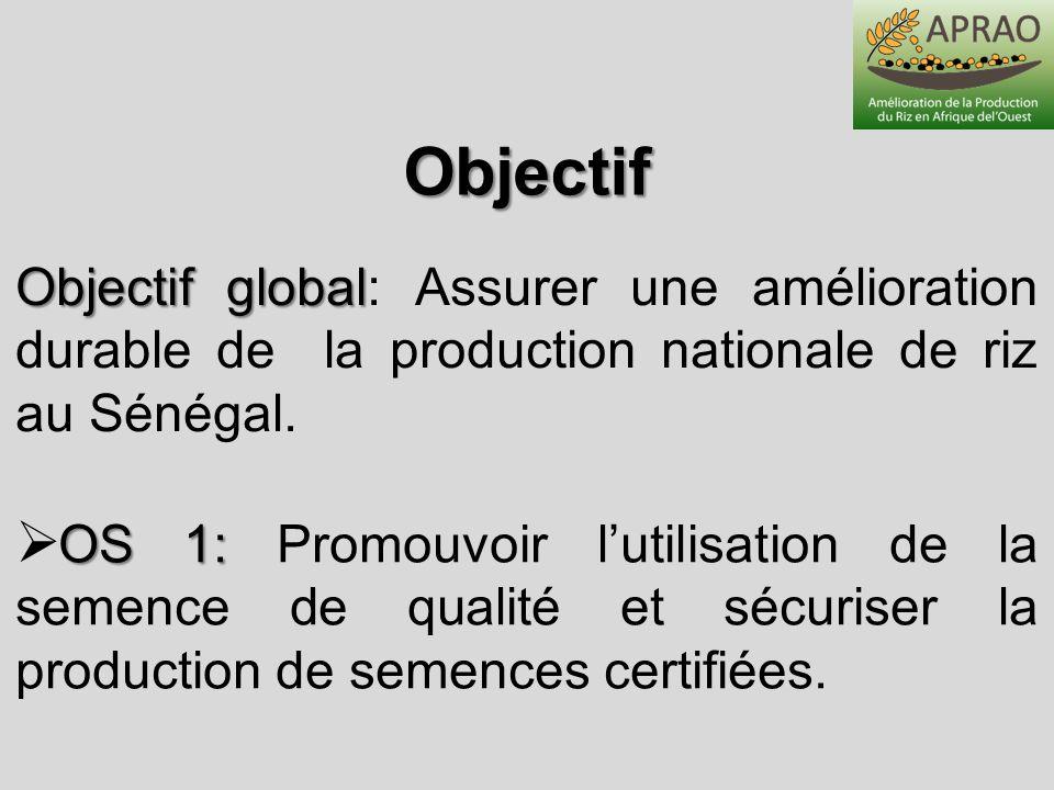 Objectif Objectif global: Assurer une amélioration durable de la production nationale de riz au Sénégal.
