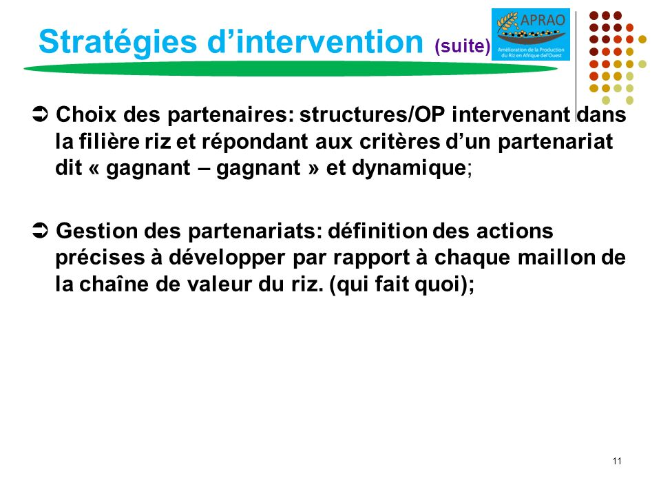 Stratégies d'intervention (suite)