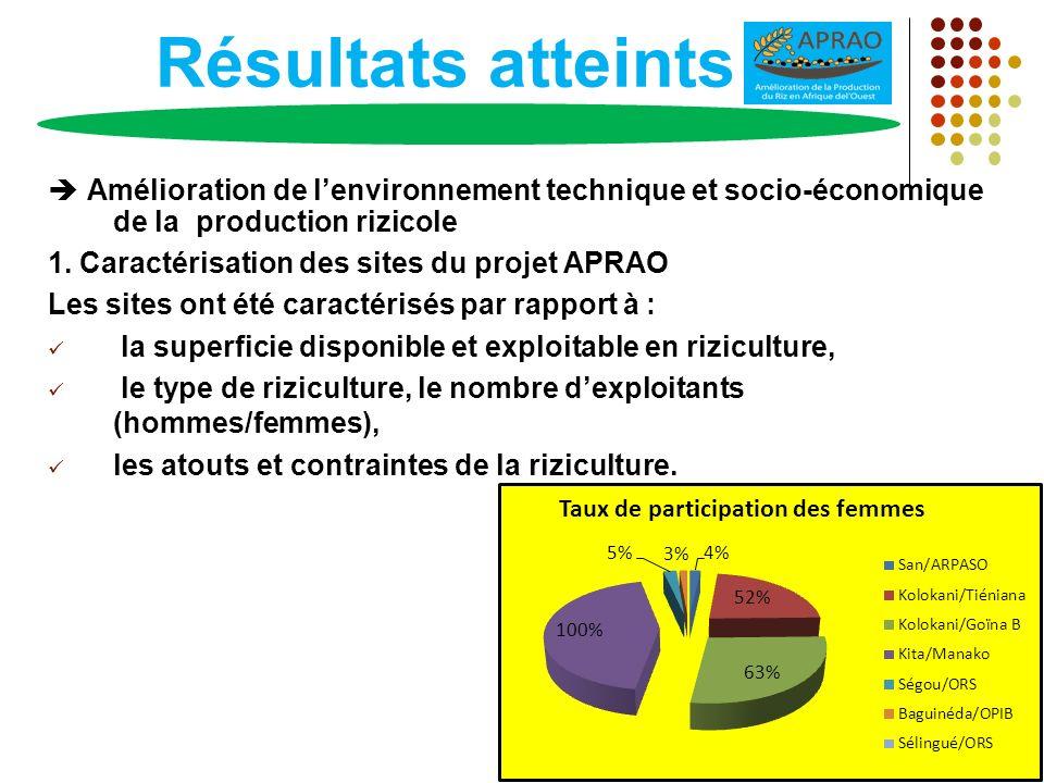 Résultats atteints Amélioration de l'environnement technique et socio-économique de la production rizicole.