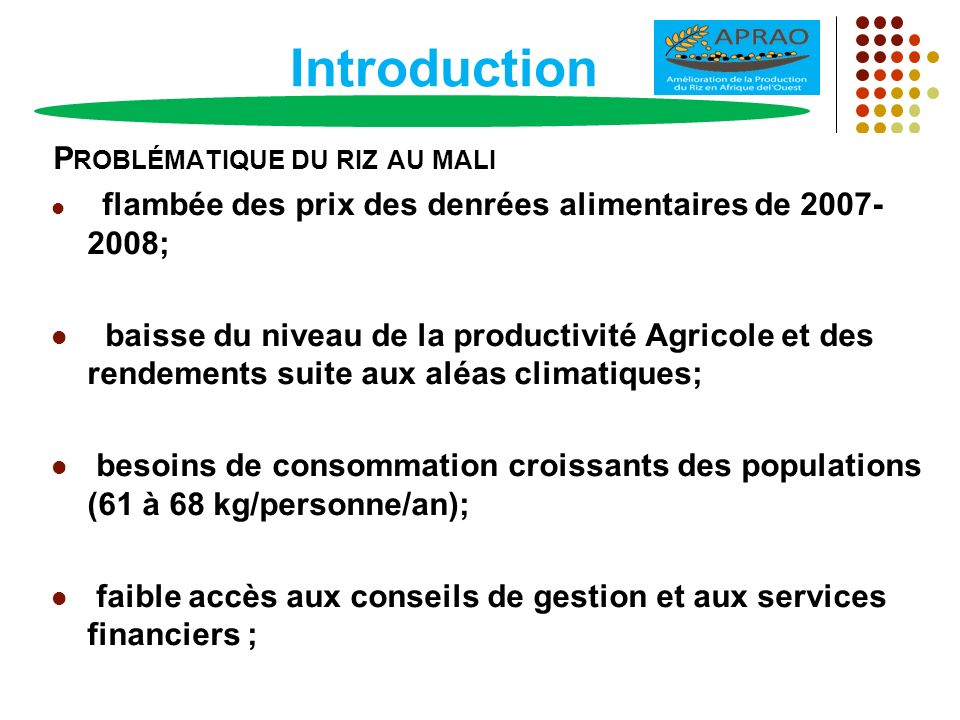 Introduction Problématique du riz au mali