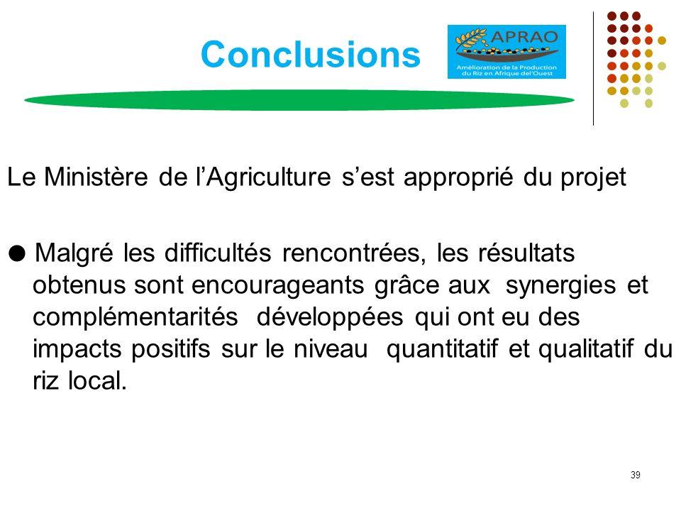 Conclusions Le Ministère de l'Agriculture s'est approprié du projet