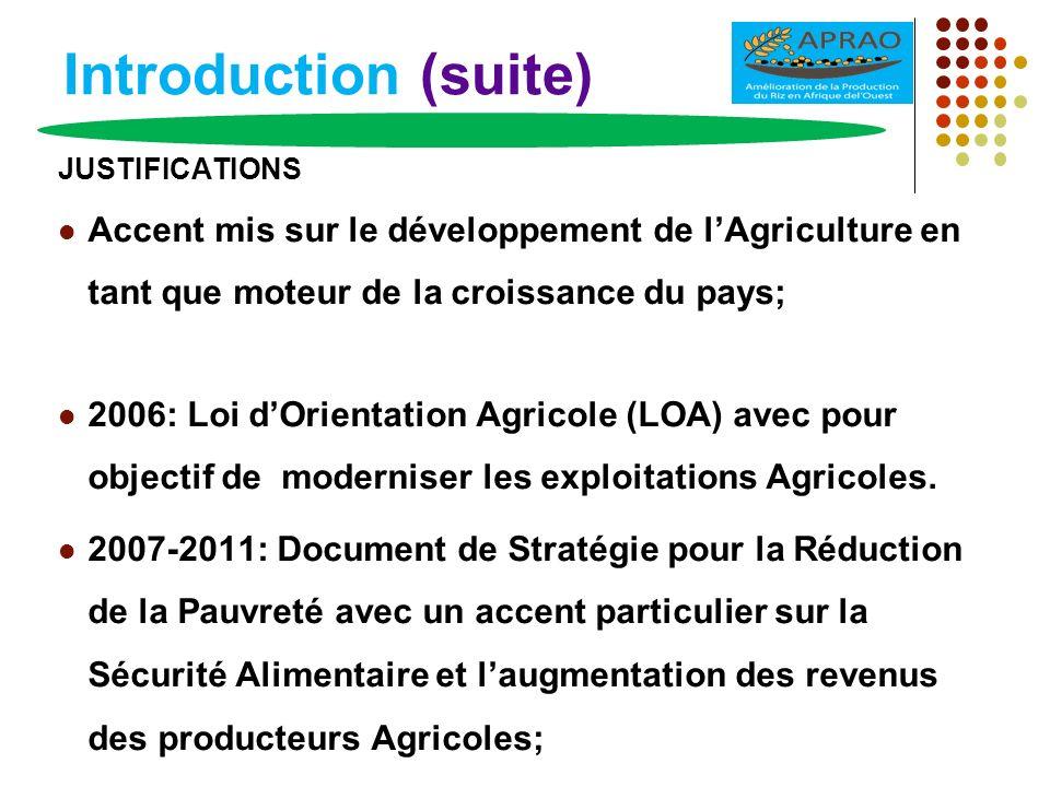 Introduction (suite) JUSTIFICATIONS. Accent mis sur le développement de l'Agriculture en tant que moteur de la croissance du pays;
