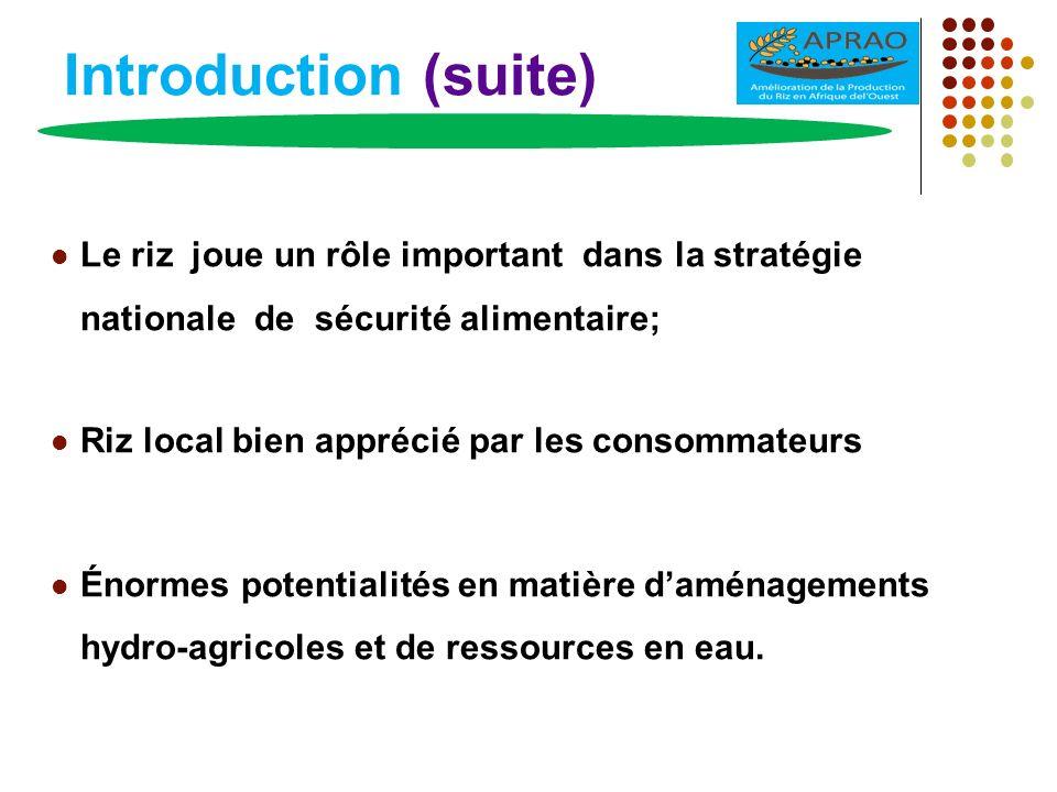 Introduction (suite) Le riz joue un rôle important dans la stratégie nationale de sécurité alimentaire;