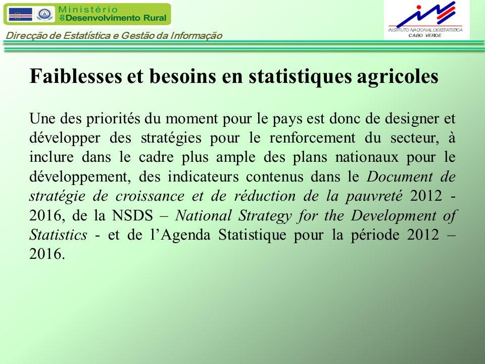 Faiblesses et besoins en statistiques agricoles