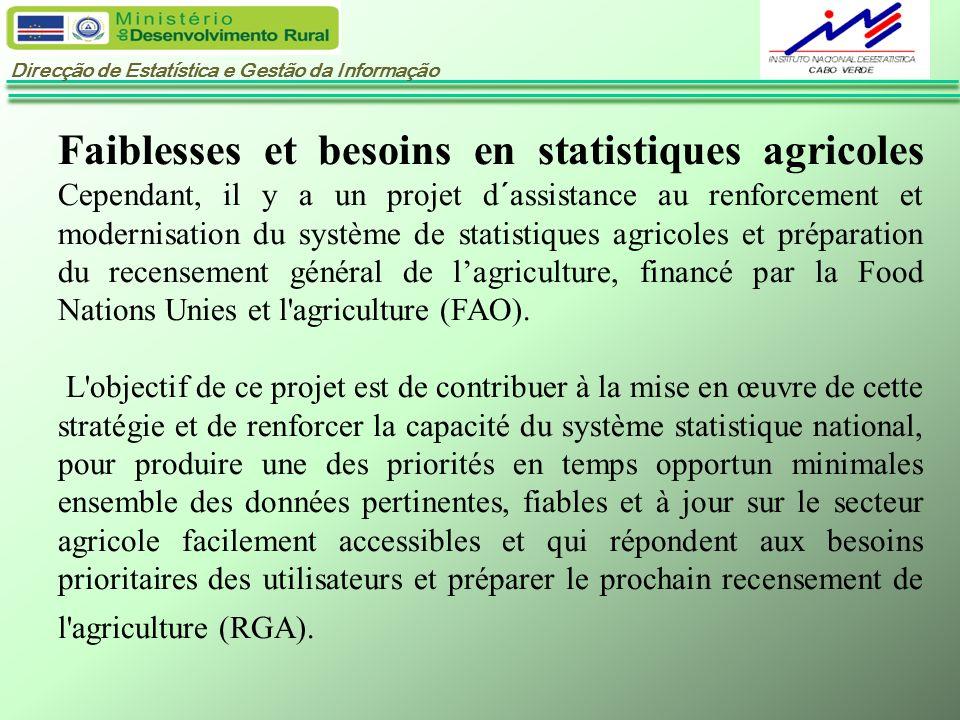 Faiblesses et besoins en statistiques agricoles Cependant, il y a un projet d´assistance au renforcement et modernisation du système de statistiques agricoles et préparation du recensement général de l'agriculture, financé par la Food Nations Unies et l agriculture (FAO).
