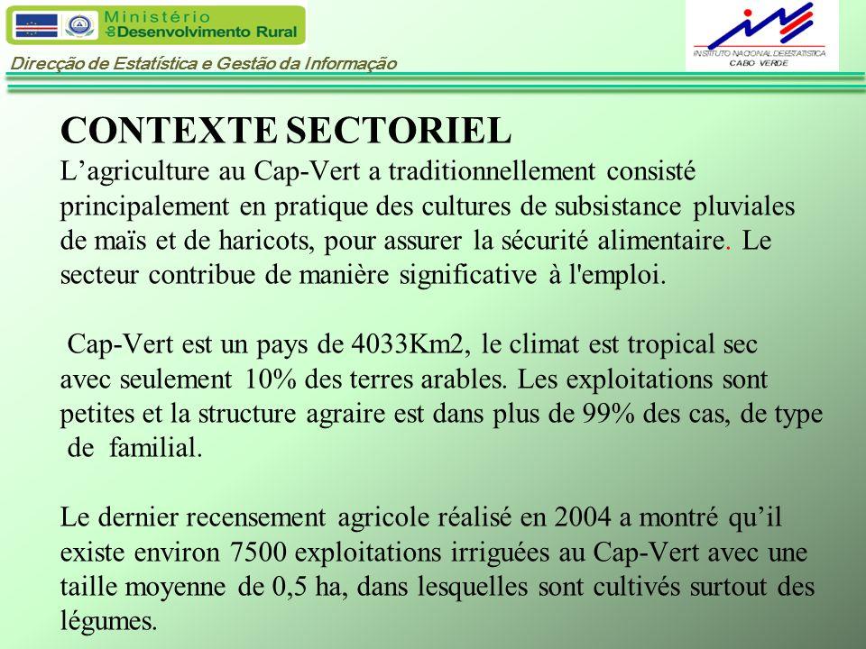 CONTEXTE SECTORIEL L'agriculture au Cap-Vert a traditionnellement consisté principalement en pratique des cultures de subsistance pluviales de maïs et de haricots, pour assurer la sécurité alimentaire.