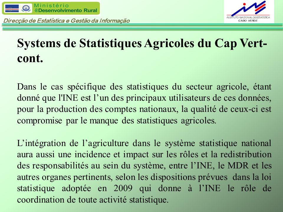 Systems de Statistiques Agricoles du Cap Vert-cont.