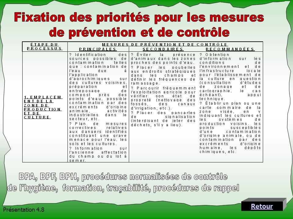 Fixation des priorités pour les mesures de prévention et de contrôle