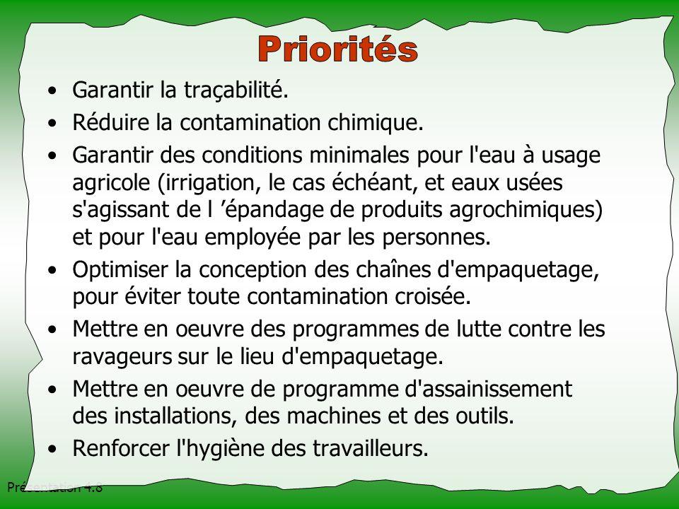 Priorités Garantir la traçabilité. Réduire la contamination chimique.