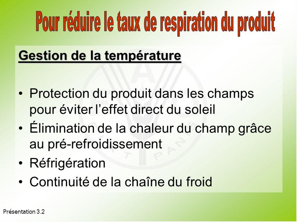 Pour réduire le taux de respiration du produit