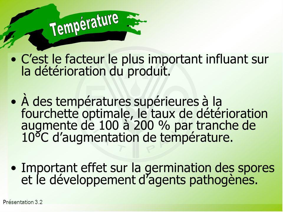 Température C'est le facteur le plus important influant sur la détérioration du produit.