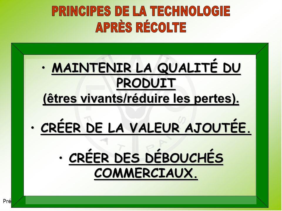 PRINCIPES DE LA TECHNOLOGIE APRÈS RÉCOLTE