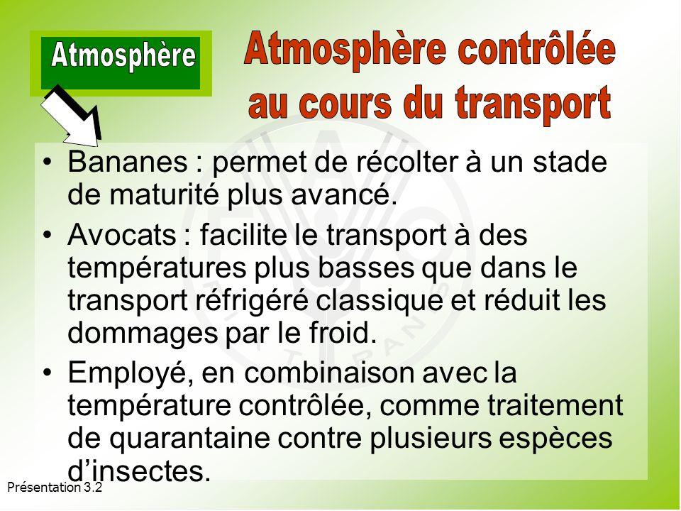 Atmosphère contrôlée Atmosphère au cours du transport