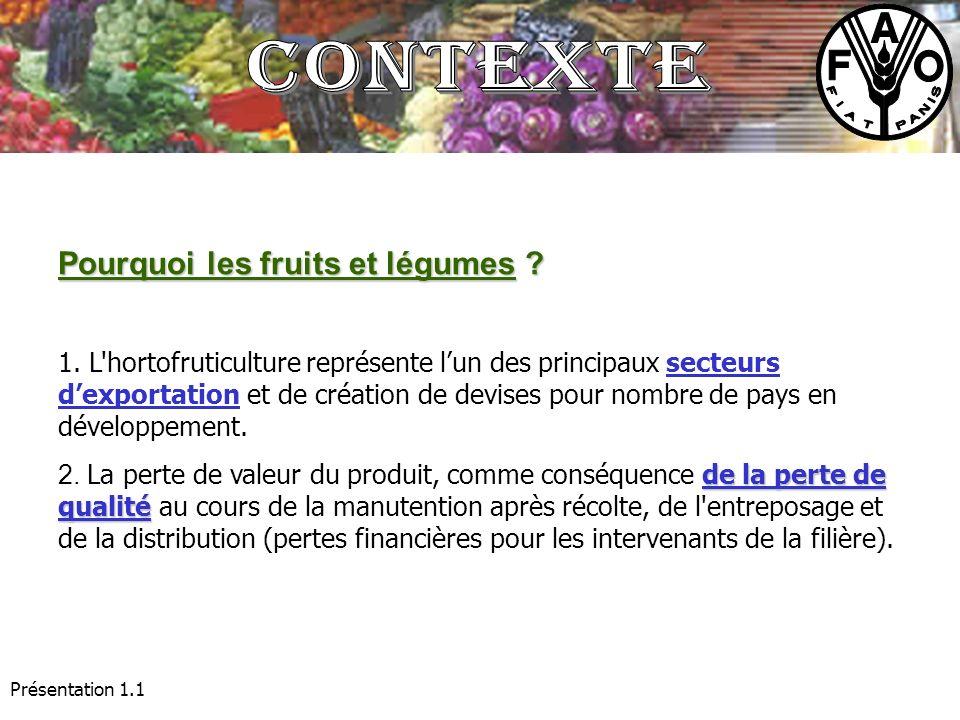 Contexte Pourquoi les fruits et légumes