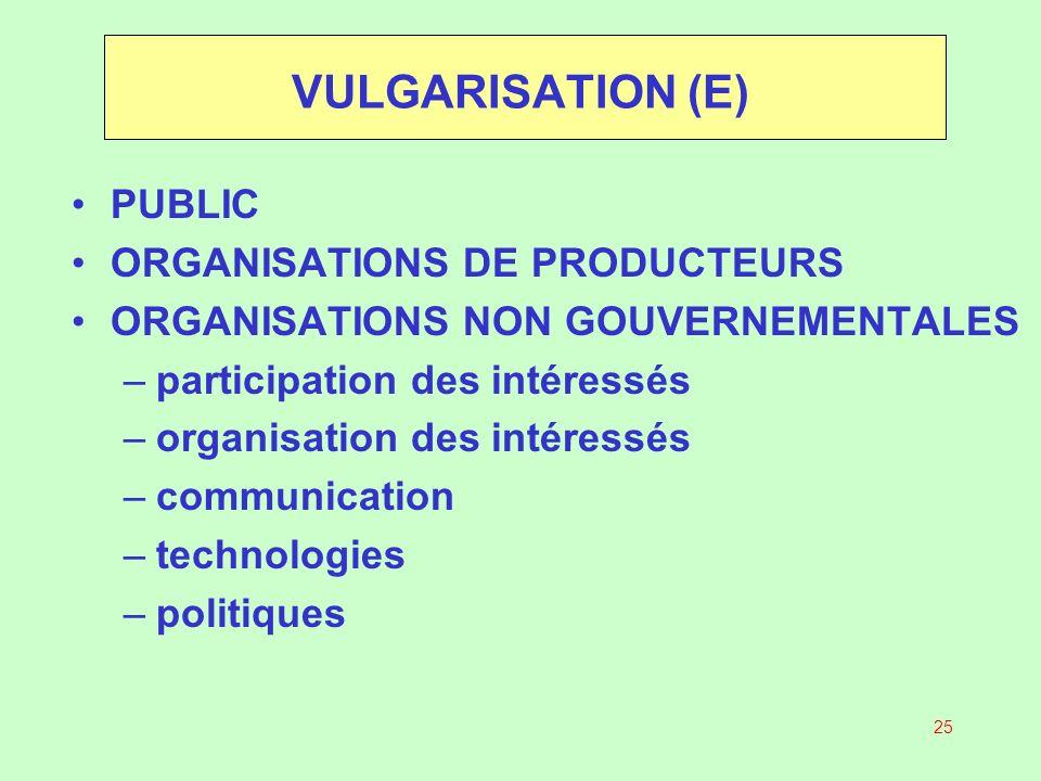 VULGARISATION (E) PUBLIC ORGANISATIONS DE PRODUCTEURS