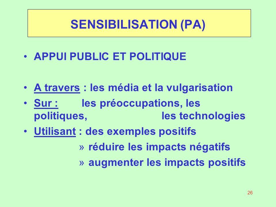 SENSIBILISATION (PA) APPUI PUBLIC ET POLITIQUE